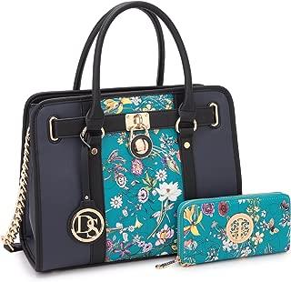 dasein 女式设计师挎包手提包双色挂锁钱包上衣手柄单肩包 W/挂链挂带