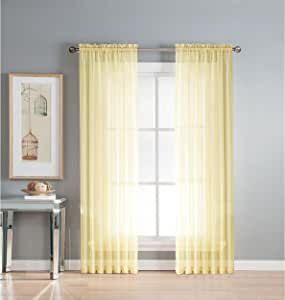 Window Elements Diamond Sheer Voile Extra Wide Rod Pocket Curtain Panel, 56 x 84-Inch, Yellow