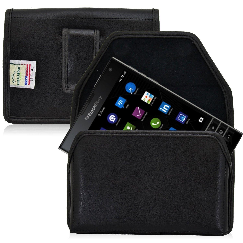 亀甲水平BlackBerryのパスポートの革保護カバー携帯電話のポケット、マグネット開閉式のブラックレザー/フラッシュクリップ