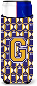 Caroline's Treasures Letter F Football Purple and Gold Wine Bottle Koozie Hugger