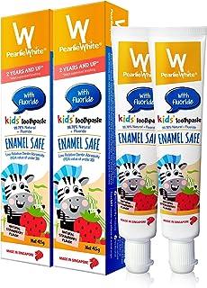 Pearlie White 99.78% 天然氟化物儿童牙膏(1.5 盎司,45 克)| 儿童/幼儿珐琅*牙膏,天然草莓味,2 件装