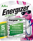 Energizer Recharge Universal 1400 mAh AA Rechargeable Batteries, Pre-Charged, 4 count