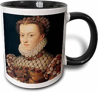 3drose BLN 绘画 KINGS ,皇后和王室–Elizabeth OF 奥地利, Queen OF 法国来自 FRANCOIS clouet–马克杯 黑色/白色 11 oz