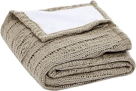 AmazonBasics 亚马逊倍思双面针织毛皮毯 棕色 50 x 60 英寸 TEX-180636