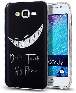 Galaxy J7 手机壳,NSSTAR 防刮超薄水晶透明橡胶凝胶透明 TPU 软硅胶缓冲保护套,三星 Galaxy J7 SM-J700 (2015),Devil Teeth