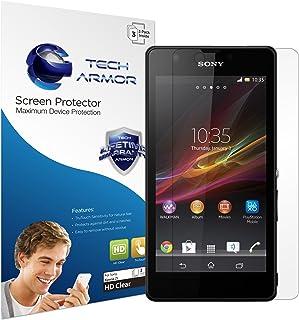 Tech Armor 索尼 Xperia Z(型号 L36i 和 L36h)手机高级高清 (HD) 透明屏幕保护膜,终身保修[3 件装] - 零售包装