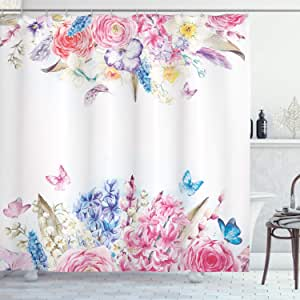 Shabby Chic Shower Curtain by Ambesonne, Romantic Garden Roses Flowers Daisies Leaves Print, Fabric Bathroom Decor Set with Hooks, 75 Inches Long, Light Pink Purple Light Blue and Coral