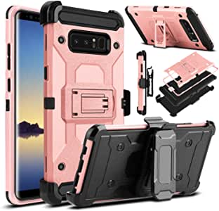 "Galaxy Note 8 手机壳,Venoro 重型装甲防震坚固保护壳带旋转夹和支架,适用于三星 Galaxy Note 8 6.3"" 2017 发布版 玫瑰金"