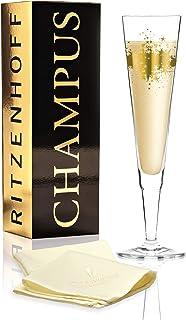 RITZENHOFF Champus 香槟*杯由 Ramona 玫瑰花环制成,水晶玻璃制成,200 毫升,带高贵的金色成分,包括织物餐巾