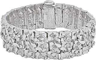 Jumbo 22.5mm Rhodium Plated Chunky Nugget Textured Link Bracelet + Microfiber Jewelry Polishing Cloth