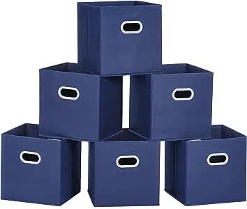 MaidMAX 储物箱,无纺布可折叠收纳篮,配有两个塑料手柄 蓝色 6packs FBA_903064