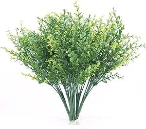 人造灌木,人造植物桉叶叶,假塑料绿松树 婚礼、花园、农场、户外、办公维兰达装饰品 Eucalyptus / 6 Pack