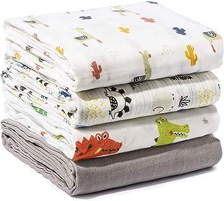 Momcozy 婴儿襁褓毯,中性款平纹细布襁褓包裹柔软丝滑竹质中性裹毯,适用于男孩和女孩,47 x 47 英寸,4 件装,(羊驼色,纯灰色,小恐龙,大恐龙)。