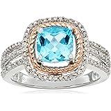 标准纯银和10K 粉色金瑞士蓝色托帕石靠垫形状和白色钻石时尚戒指
