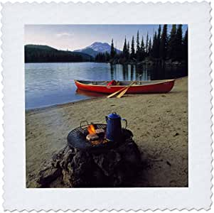 3dRose qs_94002_1 Oregon, Sparks Lake. Camping Near Bend-Us38 Rer0030-Ric Ergenbright-Quilt Square, 10 by 10-Inch