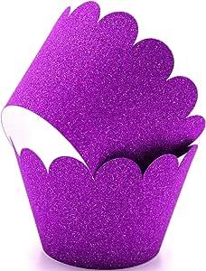 闪光纸杯蛋糕包装,可调节 紫色