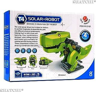 Gifts 4 All Occasions Limited SHATCHI-573 4 合 1 太陽能機器人,DIY 組裝,教育恐龍3D模型套裝 適合生日和圣誕節,多色