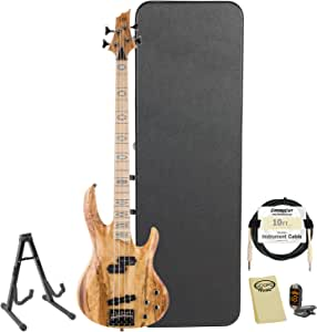 ESP RB-1004SM-NAT-KIT-2 Spalted Maple Natural 4-String Electric Bass with Accessories and Hard Case