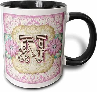 3drose dooni Designs monogram 首字母设计–REGAL PASTEL MOD 锦缎 monogram 首字母 N–马克杯 黑色/白色 11 oz