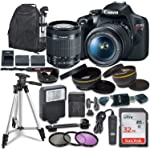 Canon EOS Rebel T7 数码单反相机带 Canon EF-S 18-55mm 图像稳定 II 镜头,Sandisk 32GB SDHC 内存卡,配件包