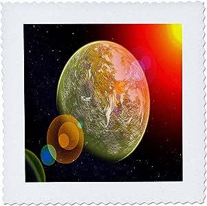 florene–特别活动–印花 OF 画 OF 彩色 planets 内衬–方块拼布