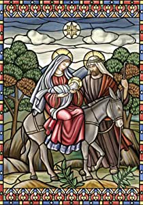 Toland Home 花园彩色玻璃耶稣 71.12 x 101.6 厘米装饰耶稣玛丽·约瑟夫圣诞星屋旗帜