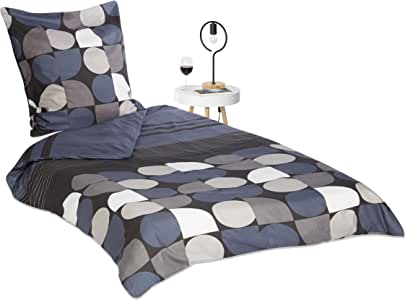 relaxdays 床单与室内图案,床盖带拉链:135–200–200x 200CM ,枕套80x 80, multicolour