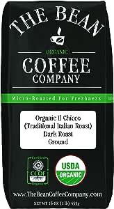 The Bean Coffee Company Organic Il Chicco (Traditional Italian Roast), Dark Roast, Ground, 16-Ounce Bag