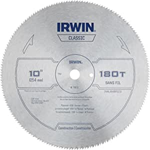 IRWIN Tools Classic Series Steel Table/Miter Circular Saw Blade, 10-Inch 180T (11870)