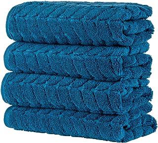 Bagno Milano 提花豪华土耳其毛巾,*土耳其棉,速干超柔软和吸水毛绒毛巾,土耳其制造(*蓝,4 件毛巾套装)