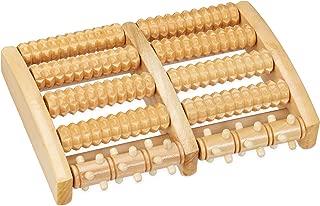 Relaxdays *按摩滚轮木制 10 轮节脚踏滚轮 适用于脚部反光区域 *按摩、放松、自然,5 x 27 x 20 厘米