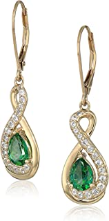 Amazon Collection 女式镀金纯银施华洛世奇雨林绿黄玉杠杆式耳环