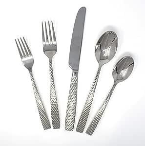 David Shaw Splendide 20 件套不锈钢餐具套装 | 美丽的宝石图案,镜面表面,可用洗碗机清洗 银色