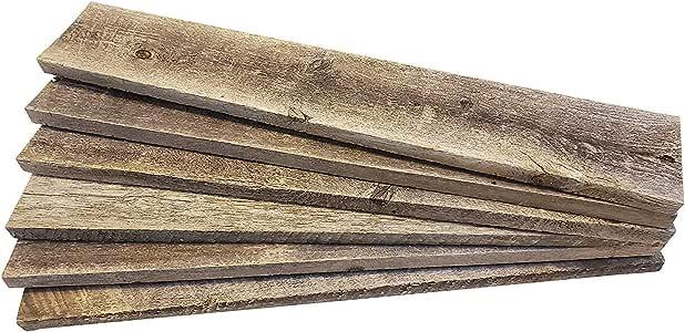 OKC Barnwood 装饰   DIY 项目的Barnwood 工艺木 [* 正品回收风化木] 乡村风化回收木板,适用于 DIY 工艺品、工程和装饰 灰色 6 Planks - 18inches 6P8-24