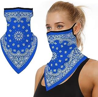 女士颈套围巾头巾带耳环防紫外线面罩摩托车巴拉克拉瓦盔面具蓝色