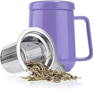 Tealyra - Peak 陶瓷茶杯注入器 - 19 盎司,580ml - 大号茶杯高温陶瓷杯带盖不锈钢注入器,茶杯适合办公室和家庭使用 紫色 19-Ounce