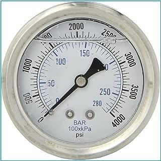 LIQUID FILLED 压力气体,6.35 厘米表盘,不锈钢表壳,黄铜连接,0.64 厘米磁环 NPT 后挂件连接,双伸缩 PSI 和杆 0-4,000 PSI 43235-14199