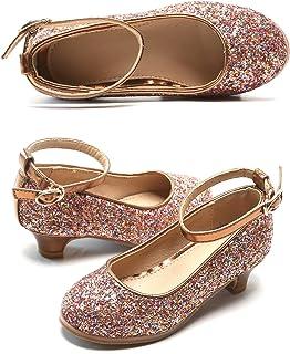 Felix & Flora 女童玛丽珍闪光鞋低跟公主花婚礼派对礼服浅口鞋 适合幼儿