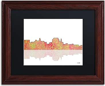 """Trademark Fine Art Augusta Maine Skyline by Marlene Watson Artwork, 11 by 14"""", Black Matte/Wood Frame"""