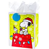 Hallmark 5XGB1785 Snoopy on Doghouse Holiday Large Ready to Go Gift Bag, Red