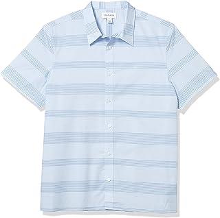 Calvin Klein 男士棉质弹力纽扣短袖衬衫