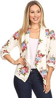 女士纯色休闲褶皱前开襟七分袖外套夹克/美国制造