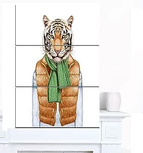 "Designart MT13207-12-28 马甲和毛衣中的老虎 - 现代动物艺术金属墙壁艺术 棕色/白色 28x36"" - 3 Panels MT13207-3PV"