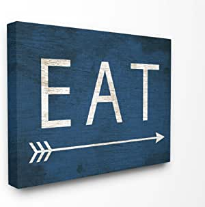 "The Stupell 家居装饰系列 Eat 箭头 蓝色壁挂装饰艺术,美国制造 16"" x 20"" kwp-1095_cn_16x20"