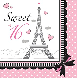 Creative Converting 18 片装 Sweet 16 派对,巴黎午餐餐巾,粉色/黑色
