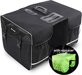 自行车行李袋防水后置行李袋,28L 大容量自行车储物袋带可调节带,提手,反光条自行车后座包 - 带防雨罩用于自行车露营