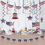 7 月 4 日装饰爱国装饰品,7 月 4 日爱国派对装饰用品 | 包括 1 件悬挂漩涡套装(12 件),1 件美国涤纶包扎便士,1 件半扇爱国旗 红色白色蓝色派对装饰