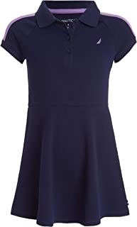 Nautica Girls' Pique Polo Dress with Gold Buttons