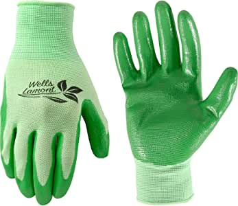 Wells Lamont 536L 女式多功能花园手套,丁腈涂层针织外套和手掌,防水,绿色,L 码 中 多色 536M