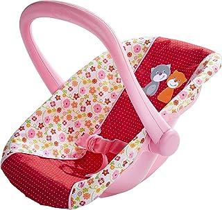 HABA 304108 – 娃娃 – 婴儿篮 花草地,婴儿座椅,带旋转手柄和皮带,娃娃配件,适用于所有小于 38 cm 的玩具,18个月以上